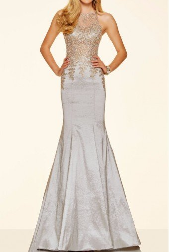 Mori Lee 98035 Silver Beaded Embroidered Mermaid Dress Gown