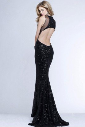 7331 Black Sequin Cutout Column Gown Evening Dress