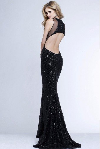 Faviana 7331 Black Sequin Cutout Column Gown Evening Dress