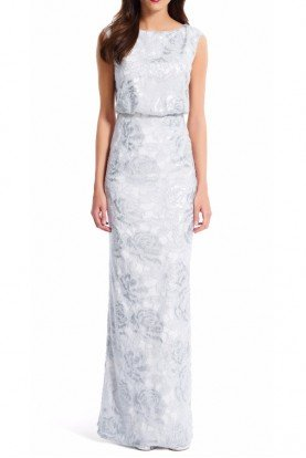 Adrianna Papell Floral Sequin Blouson Gown Dress Silver White