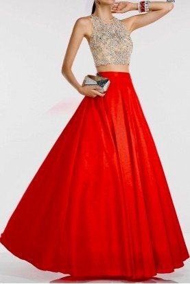 46534 Two Piece Ballgown Dress w Red A line Skirt