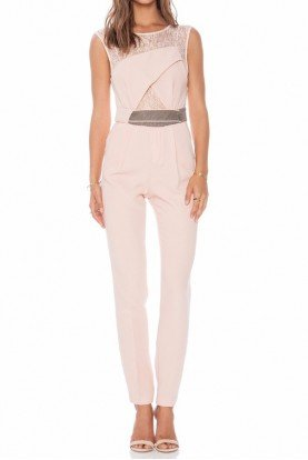 Three Floor Realm Jumpsuit in Soft Blush Pink Taupe High Waist