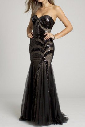 153050  Black Sequin Lace Mermaid Gown Prom Dress