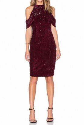 Sequin Velvet Holiday Burgundy Off Shoulder Dress