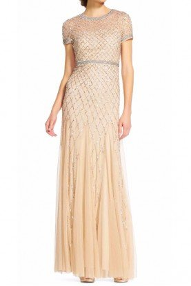 Cap Sleeve Beaded Gown Champagne Bridesmaid Dress