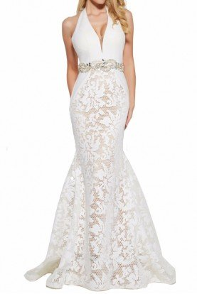65411M Mermaid Lace Deep V Gown in Ivory Nude
