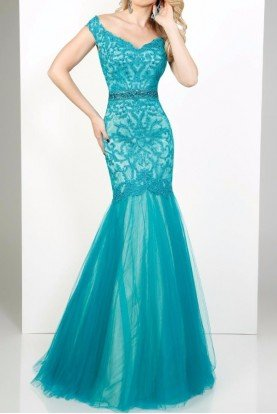 MCE11644 Off Shoulder Mermaid Lace Teal Gown Dress