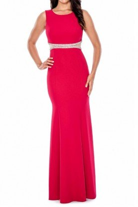 Sleeveless evening gown with crystal detailing
