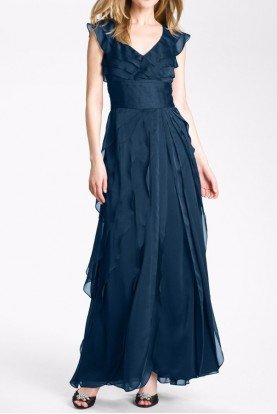 Tiered Chiffon Gown in Navy - Bridesmaid Dress