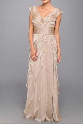 Adrianna Papell Long Tiered Petal Dress in Nude - Bridesmaid Dress