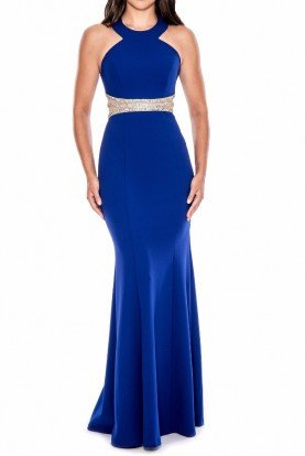 Halter Mermaid Gown Navy Blue  Crystal detail