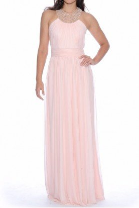 Blush Chiffon Gown with Pearl beaded neckline