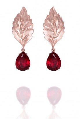 Ada Rose Gold Drop Earrings with Leaf Detail