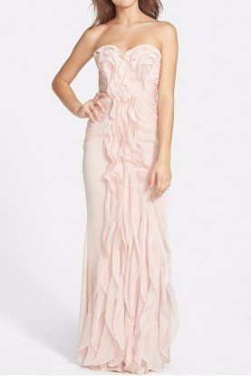 Ruffled Chiffon Dress Blush Pink Gown