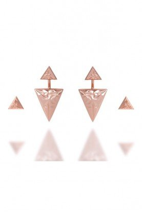 JULIA Rose Gold Two Pairs of Geometrical Earrings