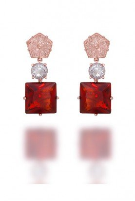 OLGA  Rose  Gold  Drop Earrings  with Gem Stone