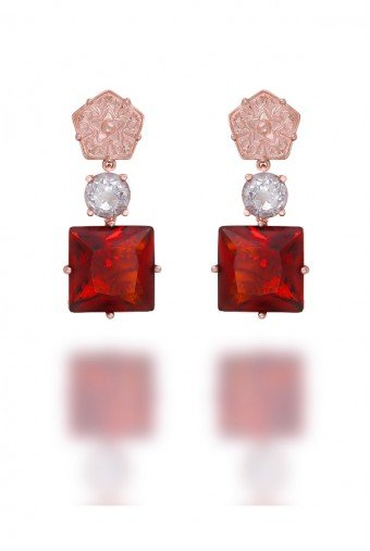 Sandugash Gallo Jewelry OLGA  Rose  Gold  Drop Earrings  with Gem Stone