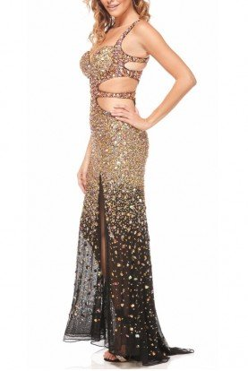 Jasz Couture Stunning Sparkle Cutout Dress Black Gold