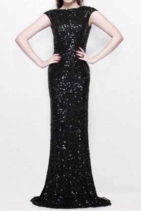 Primavera Couture 1256 Black Sequin Bridesmaid Dress with Cowl Back