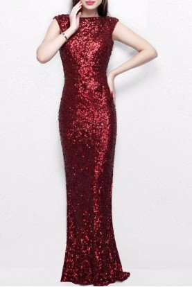 Primavera Couture 1256 Sequin Evening Gown Dress in Burgundy Red