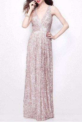 Primavera Couture 1257 Rose Gold Sequin Blush Bridesmaid Dress