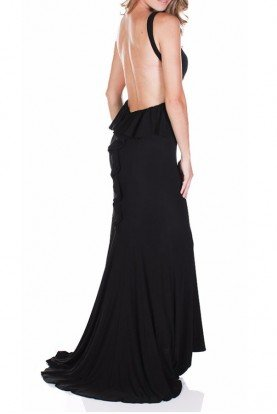 BLACK Ruffled Open Back Evening Gown Dress 5758