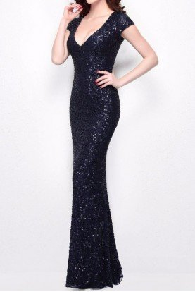Midnight Navy Blue Sequin Gown Bridesmaid Dress