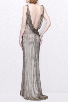 Primavera Couture Champagne Color Beaded Gown Long Bridesmaid Dress