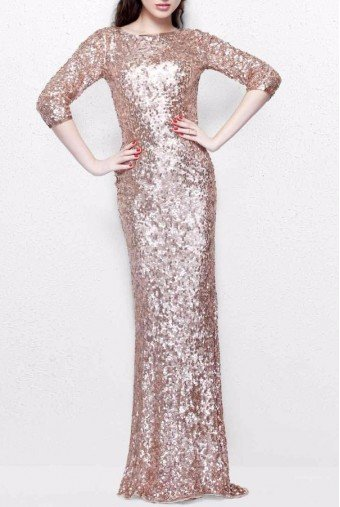 Primavera Couture Rose Gold Sequin Sleeve Gown Long Bridesmaid Dress