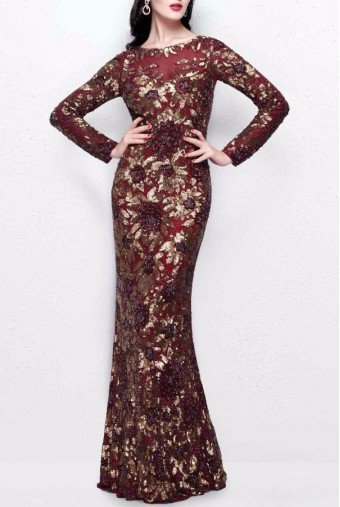 Primavera Couture 1401 Burgundy Glimmering Floral Long Gown Dress