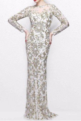 1401 Ivory Sequin Floral Long Sleeve Gown Dress