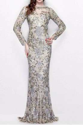 Primavera Couture Champagne Sequin Gown Silver Beaded Long Dress