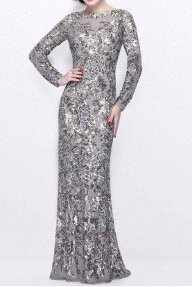 1401 Platinum Silver Sequin Long Sleeve Gown dress
