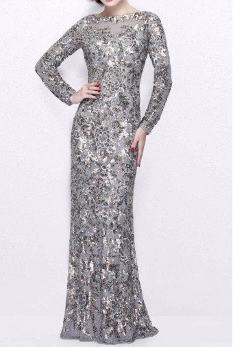 Primavera Couture 1401 Platinum Silver Sequin Long Sleeve Gown dress