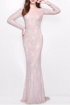 1707 Long Sleeved Beaded Champagne Gown Dress