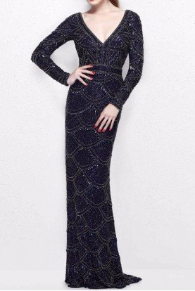 1738 Navy Beaded Long Sleeve Evening Gown Dress