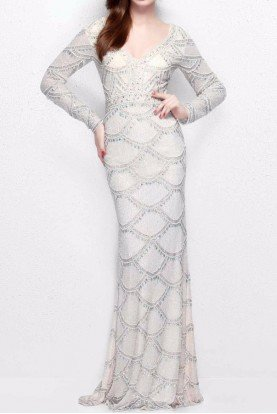 1738 Ivory White Beaded Long Sleeve Gown Dress