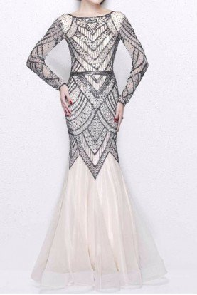 Primavera Couture 1725 Nude Gunmetal Beaded Mermaid Gown Dress