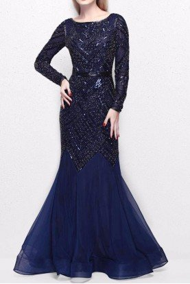 1725 Navy Blue Beaded Long Sleeve Gown Dress