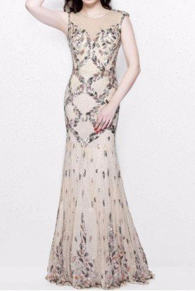 1812 Champagne Sleeveless Beaded Gown Dress