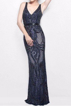 Primavera Couture 1727 Midnight Navy Beaded Embellished Gown Dress