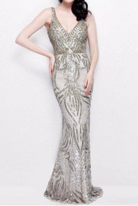 1727 Champagne Beaded Embellished Evening Dress