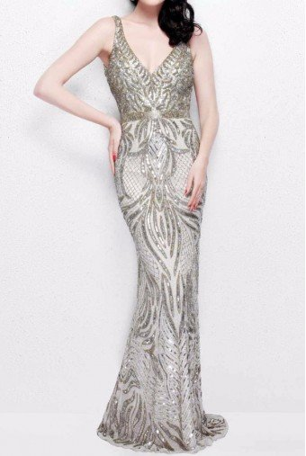 Primavera Couture 1727 Champagne Beaded Embellished Evening Dress