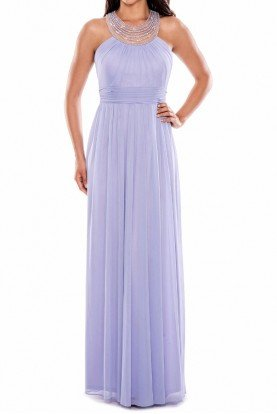 Lilac Chiffon Gown with Beaded Pearl Neckline