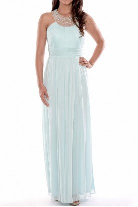 Mint Bridesmaid Dress Chiffon Gown Pearl Neckline
