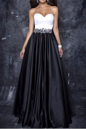 1329 Satin Sweetheart Black and White Ball Gown