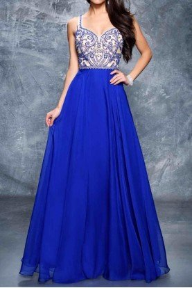 1315 Bejeweled Elegance Gown in Royal Blue
