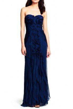 Adrianna Papell Front Ruffle Chiffon Navy Gown Bridesmaid Dress