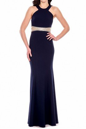 Black Mermaid Halter Gown Dress Crystal Detail
