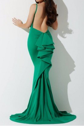 21899 Emerald Green Mermaid Gown Open Back Dress